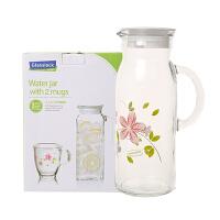 glasslock韩国进口玻璃水壶配水杯3件套冰箱 冷泡 冷水壶1200ml IG705