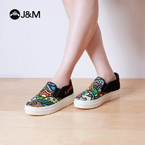 jm快乐玛丽春季时尚设计师涂鸦套脚厚底个性乐福鞋女鞋子82053W