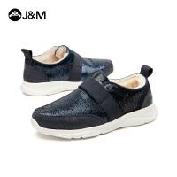 jm快乐玛丽冬季时尚亮片平底套脚加绒加厚运动休闲鞋女鞋子78023W