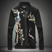 男士夹克衫新款韩版修身棒球服立领印花外套时尚青年大码上衣