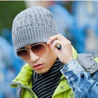 男士冬天冬季韩版潮毛线帽加绒加厚保暖套头帽护耳 户外针织帽