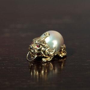 14k金镶嵌巴洛克淡水珍珠龙龟项坠