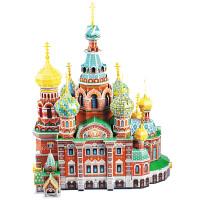 �和�俄�_斯建筑模型 3d立�w拼�D智力玩具 男孩女孩拼�b模型