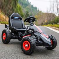 新款儿童电动卡丁车双驱双电可坐人四轮沙滩车男女宝宝遥控玩具车小孩兜风童车可坐可驾驶 黑色遥控款 两用1-9岁(充气轮)