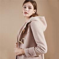 【开门红 2件2.5折到手价:247】拉夏贝尔呢子大衣女士中长款冬季新款流行外衣连帽羊毛双面呢毛呢外套