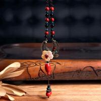 中国风女装弯月长款挂件项链女陶瓷吊坠百搭复古民族风时尚配饰品