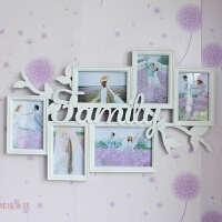 创意family相框连体组合7寸6寸六格婚纱儿童艺术相框挂墙照片墙 7寸一张横 6寸五张 四竖一横