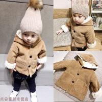 宝宝棉衣外套秋冬装男儿童加绒加厚中长款大衣冬季婴儿棉袄外出服 带帽外套
