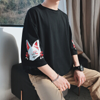 男士短袖T恤韩版宽松潮流圆领原宿bf风2018新款夏季半袖学生体恤