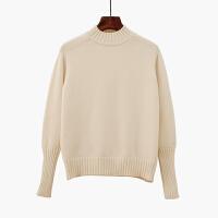 秋冬季加厚宽松打底衫线衣黑米白色半高领百内搭线衣色毛衣女士