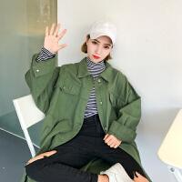 学院风宽松纯色中长款衬衣外套女装韩版春装学生复古工装风衣外套