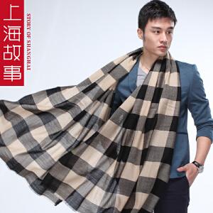上海故事 欧美时尚商务男士纯羊毛格子超长加大保暖围巾夏季空调围巾