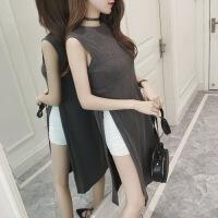 慈姑春夏新款女装个性高开叉圆领宽松显瘦中长款学生无袖背心连衣裙