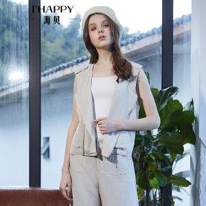海贝2018春季新款女装 纯色圆领休闲短款马夹外套