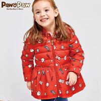 【3件3折 到手价:269】Pawinpaw宝英宝卡通小熊童装女童连帽羽绒服保暖厚外套