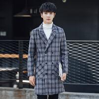秋冬装格子毛呢大衣男韩版修身中长款风衣青少年休闲呢料外套