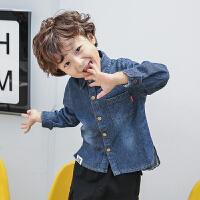 【尾品汇3件3折】宝宝秋装牛仔衬衫2018新款男童韩版上衣儿童时尚衬衣