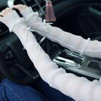 夏季开车防紫外线长款薄蕾丝冰丝女士防晒手套袖透气优雅露指 均码