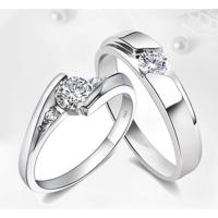 ???? 925非纯银镀白金订婚求婚结婚钻戒情侣戒指一对对戒七夕情人节礼物礼物国庆节礼物