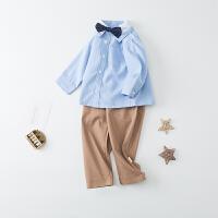 【开学季1件3折:59.4元】春季新款男宝宝纯棉长袖洋气绅士立领衬衫礼服两件套套装