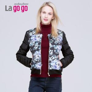 冬季新款短款超薄羽绒服女修身显瘦韩版印花羽绒外套