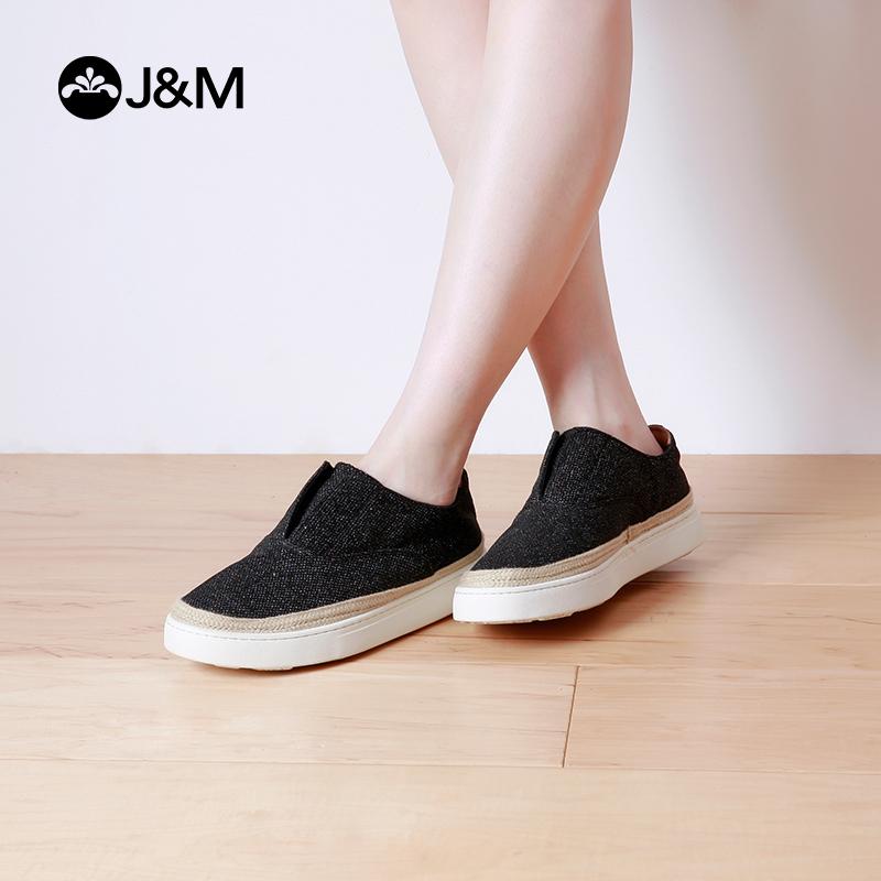 【低价秒杀】jm快乐玛丽春秋时尚平底套脚休闲厚底松糕鞋女士乐福鞋子