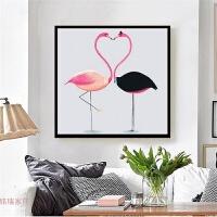 蒙娜丽莎印花十字绣客厅餐厅2018新款火烈鸟小幅结婚简单线绣卧室