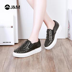 jm快乐玛丽低跟铆钉套脚舒适厚底一脚蹬乐福鞋女鞋