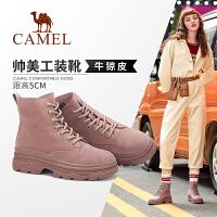 骆驼女鞋2019冬季新款加绒短靴女英伦风系带工装靴真皮平底马丁靴
