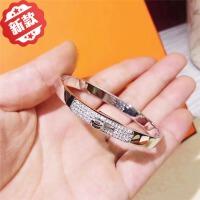 925纯银半钻手镯女网红同款森系冷淡风玫瑰金手环气质简约潮