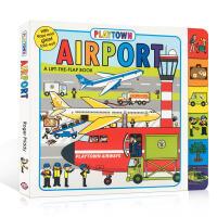 Playtown系列 Lift-the-Flap Book Airport 开本 纸板翻翻书 儿童启蒙 儿童绘本 撕不