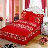 加厚床罩床裙四件套磨毛秋冬婚庆大红被罩套1.5/1.8m床上用品双人