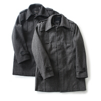 男装外套冬装 简约风纯色翻领外套长袖毛呢大衣男百搭