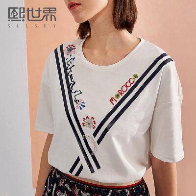 熙世界几何字母刺绣短袖圆领T恤女2018年春夏装新款上衣112ST024