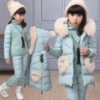 5到13岁冬装10女童9小孩子12三件8女孩7冬季冬天羽绒棉衣服一套装