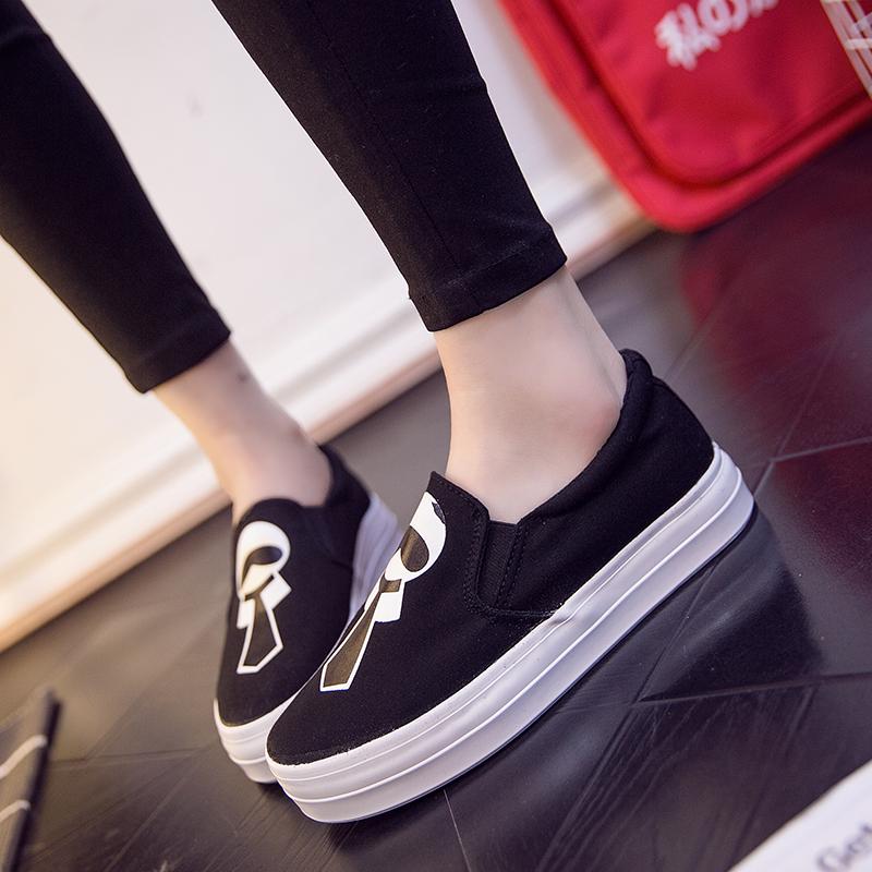 2018秋季新款套脚帆布鞋卡通休闲板鞋韩版一脚蹬懒人鞋厚底松糕单鞋女学生布鞋子