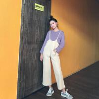 春装2018新款女装复古港味针织polo衫衬衫+背带连体裤休闲裤套装