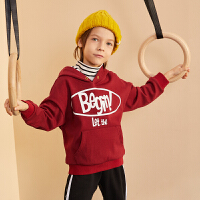 【周年庆3件2折:59】巴拉巴拉旗下巴帝巴帝19年冬男童中大童撞色字母印花儿童加绒连帽卫衣