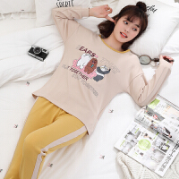 睡衣女秋纯棉长袖两件套装韩版清新学生春秋季薄款女士家居服夏天 杏色 J9833