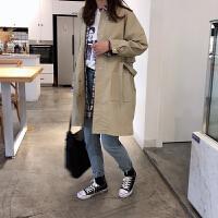 20180323193946359韩版春季新款女士中长款风衣外套女宽松长袖学生工装百搭立领上衣