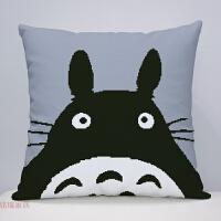 龙猫十字绣抱枕5D印花款创意卡通动漫手工绣背枕靠垫枕头