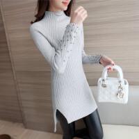 冬装新款黑色高领加厚时尚钉珠毛衣女式中长款套头修身针织打底衫