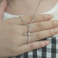925银K金耶稣十字架项链女男吊坠钻韩版锁骨时尚基督教生日礼物