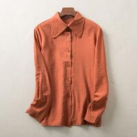 2018春装新款纯色修身单排多扣长袖打底衬衫