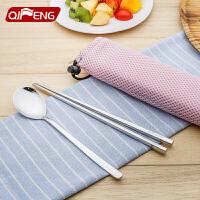 304不锈钢筷子勺子套装创意可爱筷子盒学生便携餐具三件套装携带