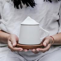 简约手工花茶杯陶瓷马克杯咖啡杯带盖 对杯礼品水杯子定制LOGO