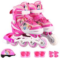 迪士尼(Disney)SD11013-P-M粉色 溜冰鞋儿童套装男女轮滑鞋可调闪光旱冰鞋 粉色公主(含护具头盔)M码(34-38码) 当当自营