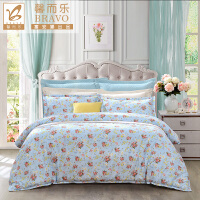 【限时秒杀】富安娜出品 馨而乐小清新印花四件套纯棉印花床单被套1.5m1.8m床适用