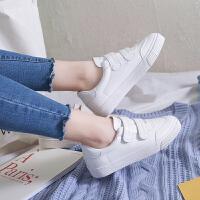 2018韩版皮面帆布鞋魔术贴小白鞋女原宿ulzzang板鞋低帮鞋