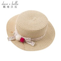 davebella戴维贝拉2018夏季新款女童纸草太阳帽 宝宝遮阳帽DB6700
